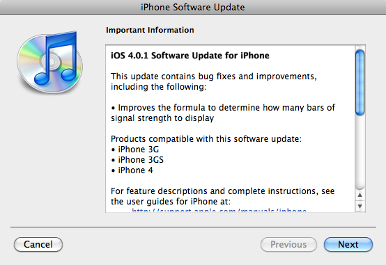 iOS 4.0.1 released to fix iPhone 4, 3GS and 3G signal meter