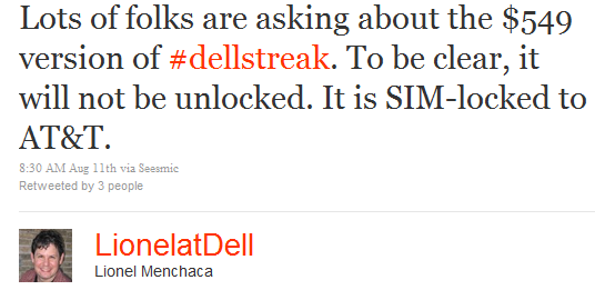 Dell Streak Without Contract Isn't Unlocked, Still SIM-Locked to AT&T