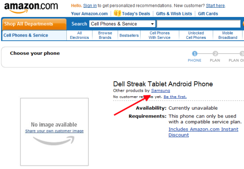 Amazon list Dell Streak (as a Samsung); pricing & release still MIA