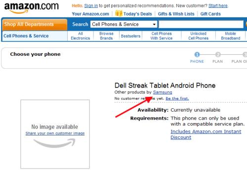 Amazon list Dell Streak (as a Samsung); pricing & release still MIA