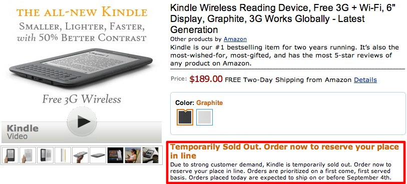 Kindle 3 sold out