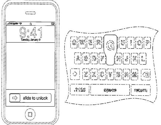 Apple patent pop-up keyboard letters & slide-to-unlock bar