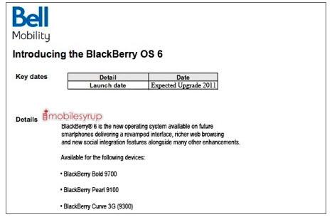Bell leak tips no BlackBerry 6 upgrades until 2011