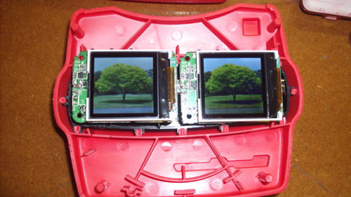 View-Master hacked to hide dual LCDs from cheap keychain frames