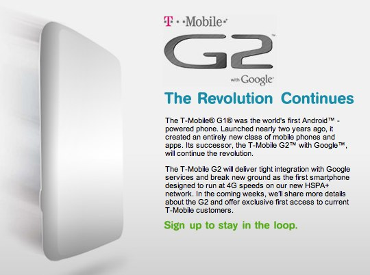T-Mobile G2 Android HSPA+ smartphone gets teasingly official