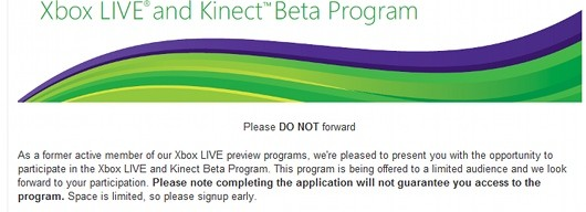 Kinect Beta Program invites offering early access