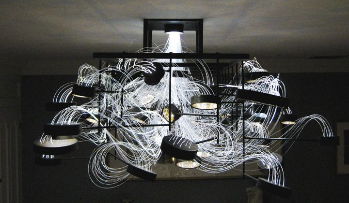 The Bacterioptica is a Chandelier Made from 15,000 Feet of Fiber Optic Cables