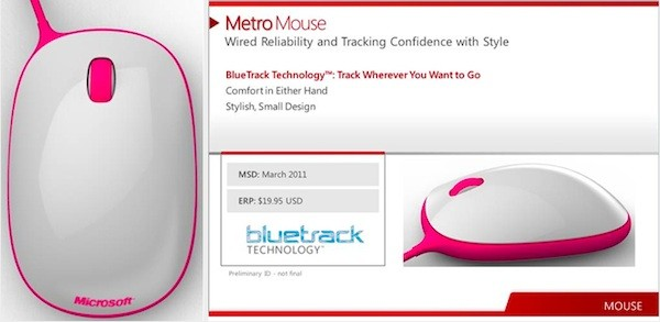 Microsoft Metro Mouse Revealed on Russian Website, Due in March