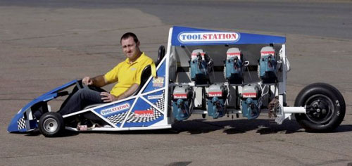 DIY mini dragster is powered by six circular saws