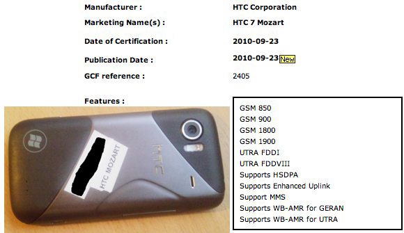 HTC 7 Mozart clears GCF with Euro 3G support