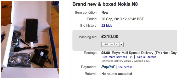 Pre-release Nokia N8 sells on eBay for just £310