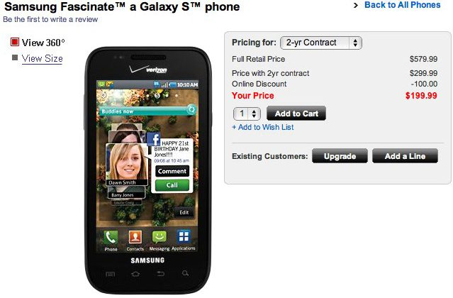 Verizon Samsung Fascinate on sale now