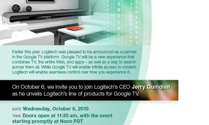 Logitech Unveiling New Line of Products for Google TV on October 6th