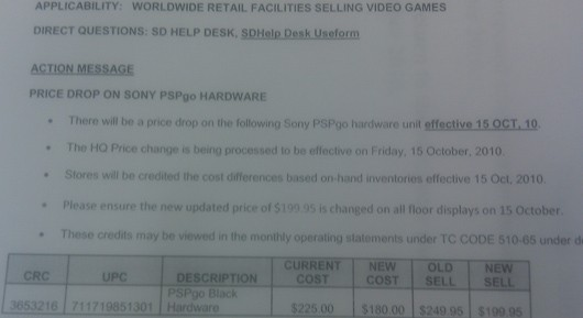 Sony PSP Go Dropping to $200 October 15th, According to Leaked Image