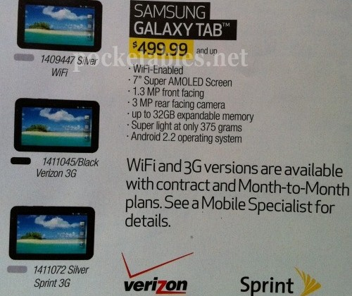 WiFi-only Samsung Galaxy Tab listed at Best Buy