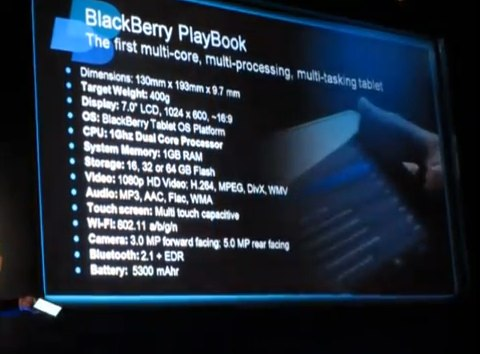BlackBerry PlayBook 64GB confirmed, plus 5,300mAh battery [Video]