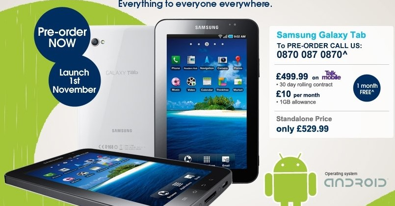 £529.99 Samsung Galaxy Tab hits Carphone Warehouse pre-order
