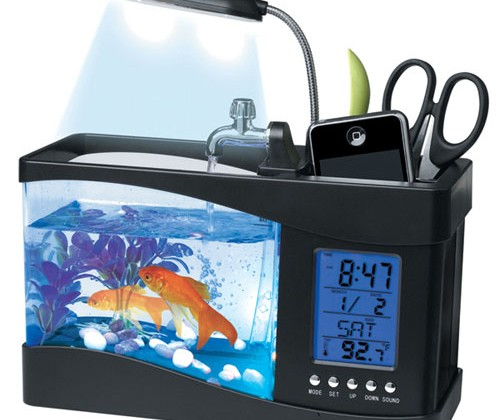 USB Desktop Aquarium holds a real fish and your stuff