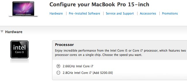 MacBook Pro 15/17 get 2.8GHz Core i7 options