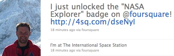 NASA astronaut claims first International Space Station Foursquare check-in