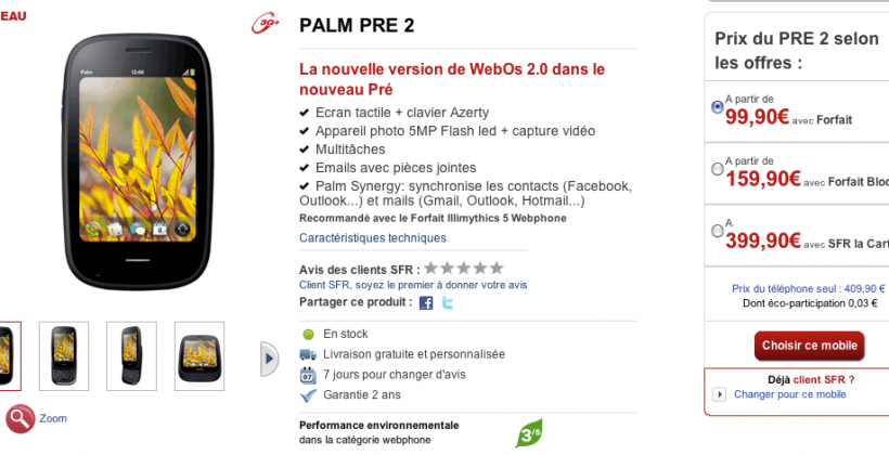 France Launching Palm Pre 2, WebOS 2.0