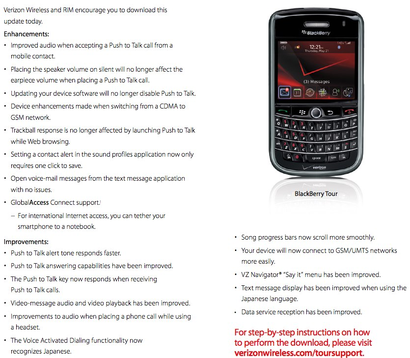 Verizon updating BlackBerry Bold 9650, Curve 8530 and Tour