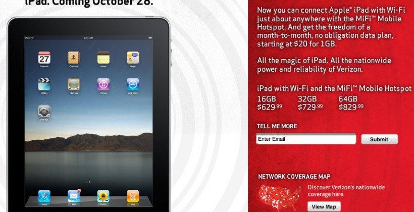 Verizon iPad deal bundles MiFi; no AT&T 3G in sight