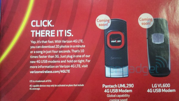 Verizon Ad Leaks Look at Pantech and LG LTE Modems