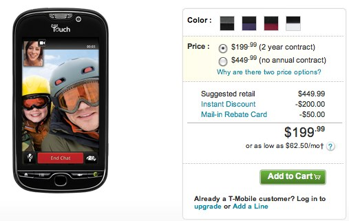$200 myTouch 4G up for sale at T-Mobile
