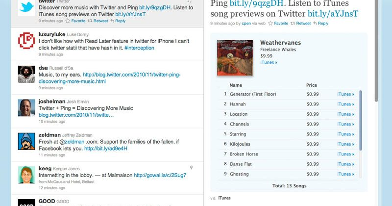 Twitter Teams Up with Apple's Ping Music Service