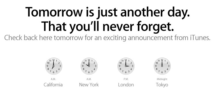 "Apple iTunes announcement ""you'll never forget"" promised for Tuesday Nov 16"