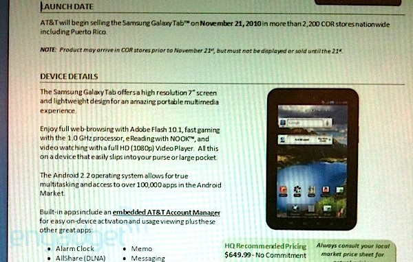 AT&T's Galaxy Tab arriving November 21 for $650?