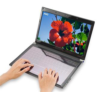 AUO demo touchscreen solar laptop keyboard & tablet/notebook glasses-free 3D panels