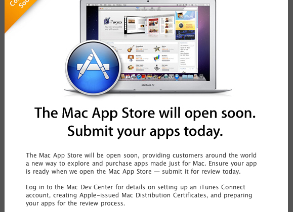 Apple Mac App Store reminder pushes for dev submissions