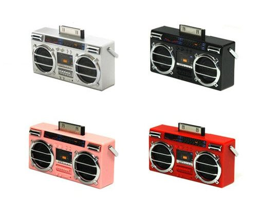Micro Boom Dock for iPod adds speakers 80's style