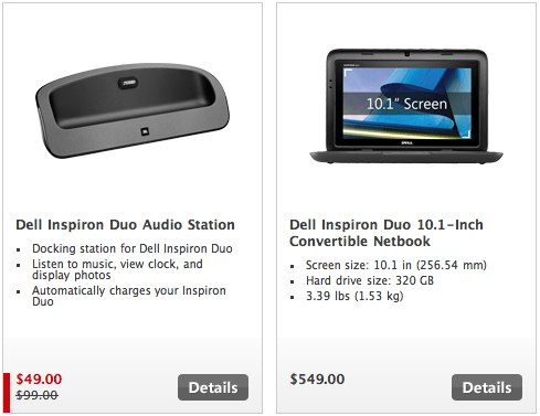 Dell Inspiron Duo and Audio Dock up for Microsoft pre-order