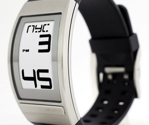 Phosphor World Time watch uses E-Ink display