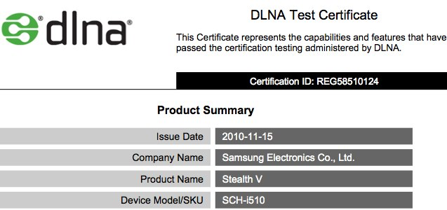 4.3-inch Samsung Stealth V SCH-i510 Froyo smartphone clears DLNA testing
