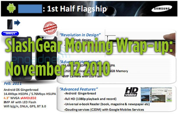 SlashGear Morning Wrap-up: November 12 2010