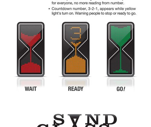 Stop light concept combines hourglass with normal lights