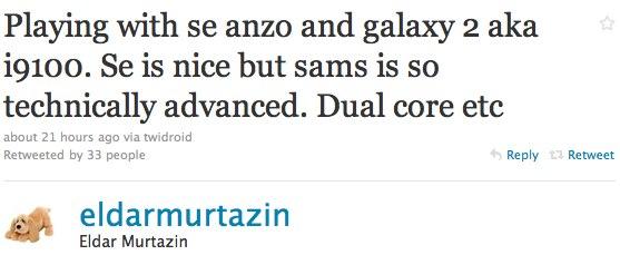 Dual-core Samsung Galaxy 2 i9100 and Sony Ericsson ANZU get field feedback