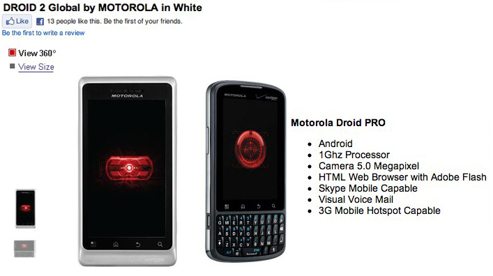 Verizon DROID PRO and 1.2GHz DROID 2 Global up for order