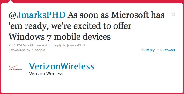 """Verizon """"excited"""" about Windows Phone 7; will offer devices as soon as Microsoft has them"""