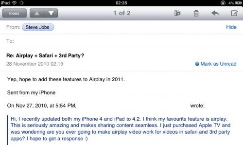 Steve Jobs Confirms Extension of AirPlay Features in 2011 – Safari, Third Party Apps, Etcetera