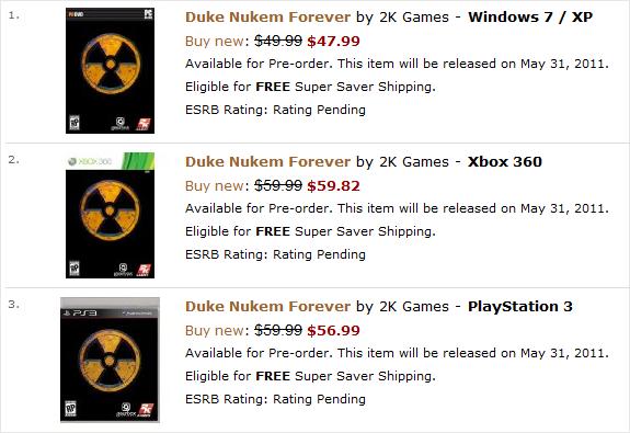 Duke Nukem Forever pre-orders taken for May 31 2011 release