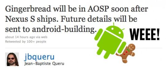 Android 2.3 headed to AOSP imminently confirms Google; custom ROMs ahoy!