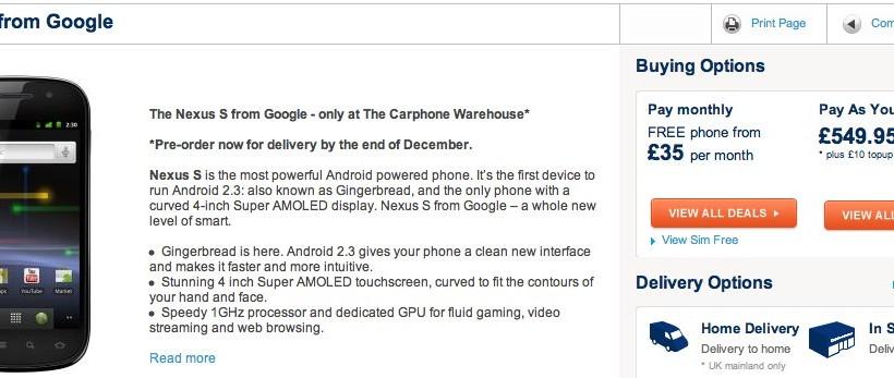 Nexus S UK pre-orders open ahead of late-December delivery