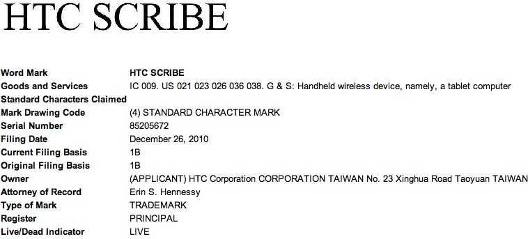 HTC Scribe tablet trademark tips slate intentions