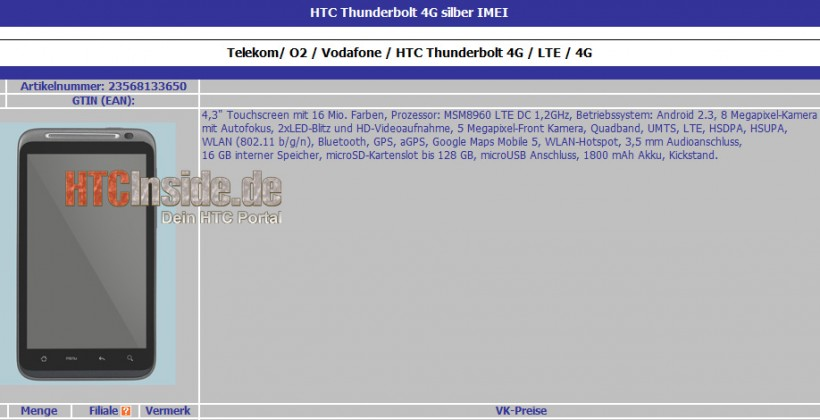 LTE HTC Thunderbolt supposedly detailed: 1.2GHz dual-core & twin 8MP/5MP cameras? [Updated]