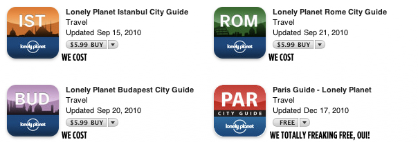 Lonely Planet Gives Several City Guide Apps Away Free During 2010 Holiday Season